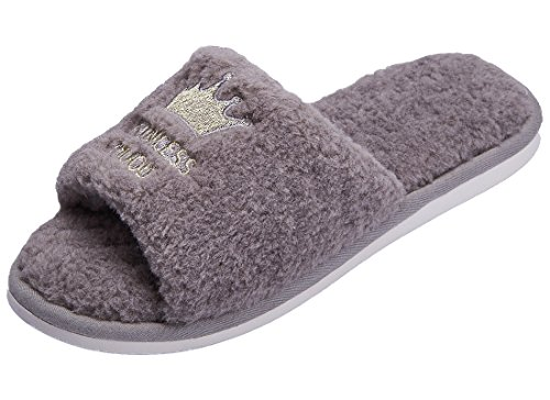 (ShallGood Winter Baumwolle Pantoffeln Plüsch Wärme Weiche Hausschuhe Unisex Kuschelige Home Rutschfeste Slippers Krone Cartoon Erwachsene Herren Damen Grau EU 39-40)