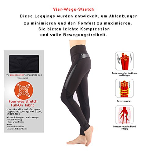 Munvot®〖Heißer Winter〗Tailored Damen Glanz Faux Leder PU Sport Leggings (TUMMY CONTROL)Blickdichte Leggings Training Tights Strech Fitnesshose Hohe Taille Strumpfhose Leggins für damen Schwarz