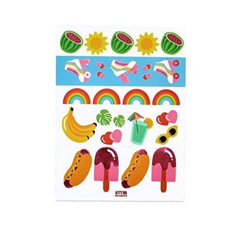 """5 Bögen Farbenfrohe Party-Aufkleber aus der Serie """"Kitiya"""" im 80er Jahre Retro-Stil mit Rollschuhen, Hot-Dogs & Eis am (Halloween Flamingo Ideen Kostüm)"""