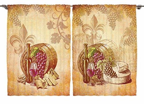 ambesonne Paris Decor Kollektion, Eiffelturm Vintage Coffee Shop, Fenster Behandlungen für Küche Esszimmer Vorhänge, 2Platten Set, 139,7x 99,1cm, braun grün orange, Textil, Multi 16, 55