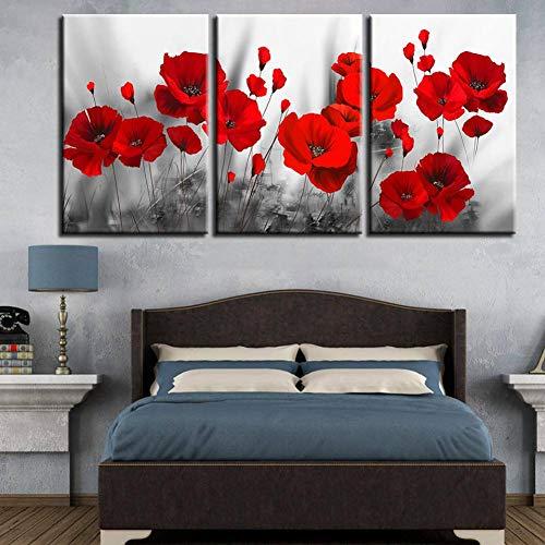 SUNNYFOR Rahmenlose Malerei Leinwand Gemälde Wohnkultur Drucke Romantische Mohn Poster 3 Stücke Rote Blumen Bilder Für Wohnzimmer Modulare Wandkunst Gerahmt -