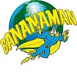 Banana Man Flying mit Namensschild auf Welt gesticktes Badge Patch zum Aufnähen oder Aufbügeln auf 9,5cm