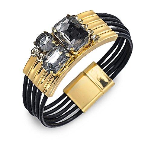 sincera gioielli bracciale donna nero placcato oro 18carati (750) Oro Giallo Cuoio Bracciale Donna con cristalli di Swarovski 01-16706