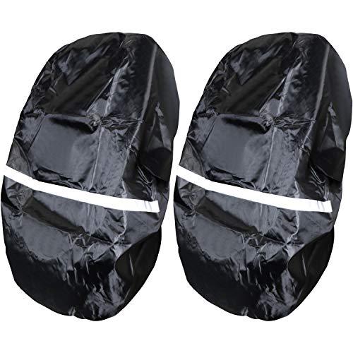 com-four® 2X Regen-Schutzhülle für Rucksäcke und Schul-Ranzen, Wasserabweisende Regenhülle in schwarz, Regen-Abdeckung mit Reflektorstreifen (02 Stück - schwarz)