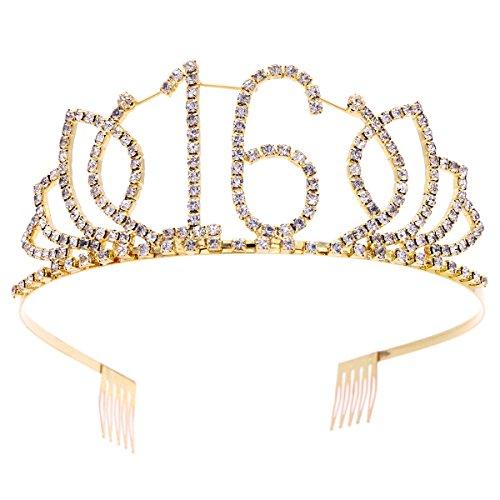 Frcolor Crystal Strass Tiara mit Haar Kämme Clip für 16. Geburtstagsparty (Gold)