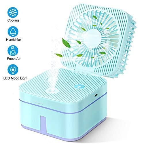 HOUSEGAGA Tischventilator USB Ventilator Luftbefeuchter Handventilator Mini Lüfter Elektrischer USB Handlüfter mit Wasserkühlung Leise-mit 3 Geschwindigkeit Farbe LED Licht für Büro Zuhause, Blau Blau Usb Mini