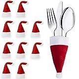 Urhome® Bestecktaschen aus Filz als Tischdekoration für Weihnachten | Weihnachtsdeko Besteckhalter für Tisch | Besteckbeutel Besteckhüllen Deko Serviettentasche 10er Set