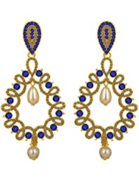 Spargz Antique Gold Plated Purple AD Stone With Pearl Big Long Indian Style Dangle & Chandelier Earrings For Women