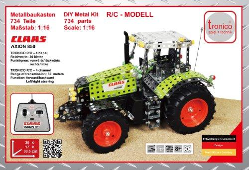 RC Auto kaufen Traktor Bild 6: Tronico 10058 - Metallbaukasten Traktor Claas Axion 850 mit Fernsteuerung, Profi Serie, Maßstab 1:16, 734-teilig, grün*