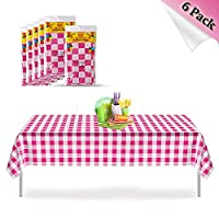 YANGTE Pink Gingham Disposable Plastic Tablecloths, 6 Pack Checkered Rectangle Table Cover 54 Inch x 72 Inch.for Wedding, Baby Showers,Picnic, Party Supplies