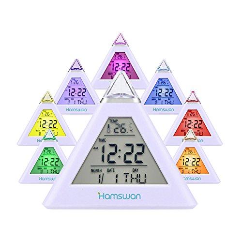 HAMSWAN Digitaler Wecker, Digitaler Wecker mit 7 farbwechselnden LEDs Zeigen Zeit Datum Temperatur (3xAAA Batterien für Stromversorgungen aber Nicht im Lieferumfang Enthalten)