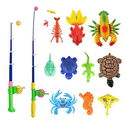 Homyl Kinder Badespielzeug Angelspiel Kinderspiel, Pädagogisches Spielzeug, Angelrute + Enten Fisch Tiermodell - # D - 13 Stücke