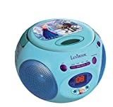 LEXIBOOK RCD102FZ - Lettore radio CD Disney Frozen, radio FM, altoparlante 0.8W x2, corrente o batterie, presa cuffie, ingresso line-in,  design all characters, Blu