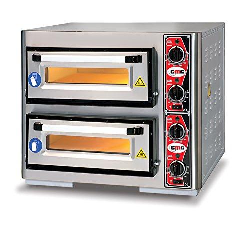 GMG Profi Pizzaofen für Gastronomie, 2 Backkammern, 4+4 x Ø25cm Pizzen, 51x51x10cm, bis 450°C
