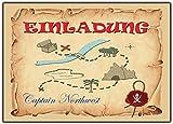 10 Set Einladungskarten Pirat Schatzkarte Piraten-party Kindergeburtstag Einladung Piratenkarte - 10 Stück geocaching Schatzsuche Sachtzkarte Geburtstag Piraten