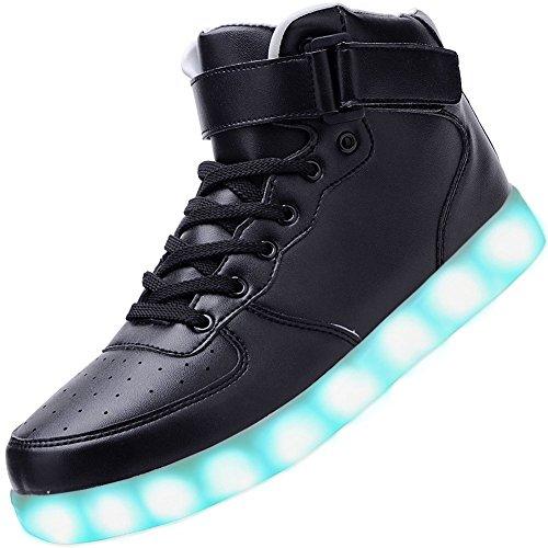 Padgene - Zapatillas LED para Hombre con Luces (7 Colores), Color Negro, Talla 40 EU