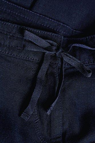 next Donna Pantaloni A Gamba Dritta In Misto Lino - Petite Blu Navy