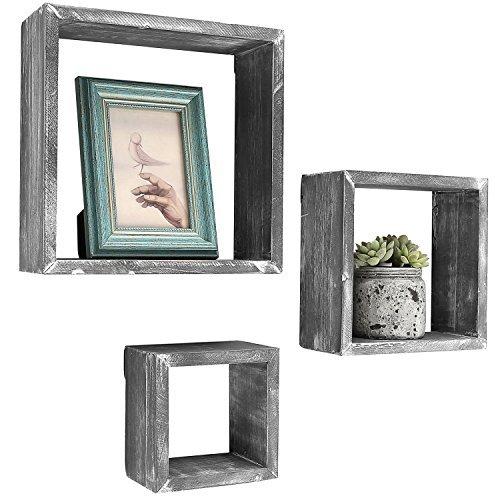 Barnwood grau Wand montiert Holz Shadow Boxen, Quadratische Floating Display Regalen, Set von 3 -