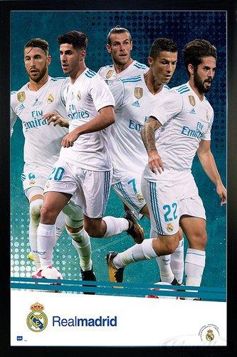 Close Up Real Madrid Poster Mannschaft Saison 2017/18 (66x96,5 cm) gerahmt in: Rahmen schwarz