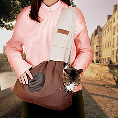 Pet Carrier Backpack Comfort Breathable Travel Tote Shoulder 100% Cotton Sling Bag with Pouch Adjustable Strap For Dog… 7