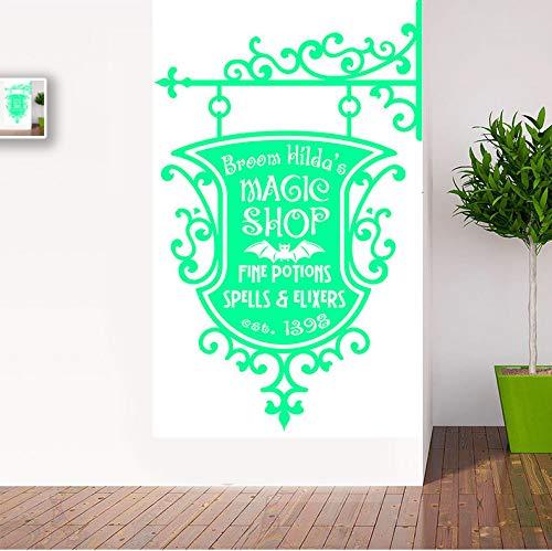 Yirenfeng Happy Halloween BesenMagic Shop Zeichen Wohnzimmer Vinyl Carving Wandtattoo Aufkleber Für Urlaub Party Home Fenster ()