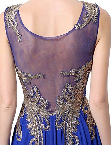 Sarahbridal Damen Lang Chiffon Rundhals Paillette Gebluemt Ballkleid Abendkleider SLX037 Schwarz