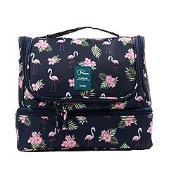 Idea Regalo - Beauty Case da Viaggio Borsa da Toilette Appendibile Tuscall Cosmetico Bag Impemeabile Multi-compartimenti Sacchetto di Toeletta per donne - Flamingo
