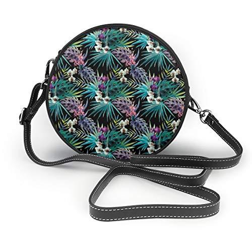 MZZhuBao Handtaschen für Frauen, Tropcial Hawaii Aquarell Palmen und Orchideen PU-Leder-Umhängetaschen, Tote Satchel Messenger Bags - Palmen Vans