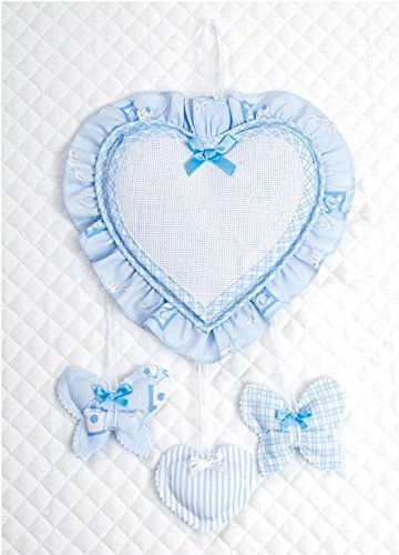 Fiocco nascita cuore e farfalle ricamabile (azzurro)