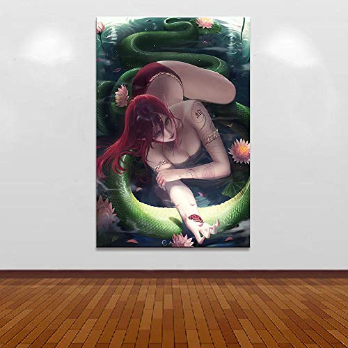 HNBDH Leinwanddrucke Malerei Poster Leinwand Kunstdruck 1 Stück Sexy Cassiopeia League Legends Wandkunst Wohnkultur Bilder Kein Rahmen 50X70 (Größe B) (Legends Keine Of Halloween-league)