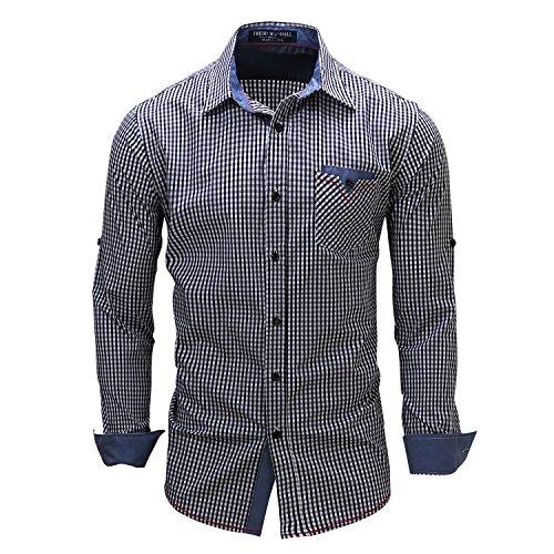Yiye uomo casual camicie cotone manica lunga a quadri regular fit