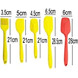 Silicone Spatula Set - 5 Piece Heat-Resistant Non-Stick Cooking Utensil Set, Baking Spoon- Including 1 Small Shovel/1 Small Spatula/One Brush & Two Large Spatula/shovel For Cooking Baking Mixing Baking Home Kitchen Tools
