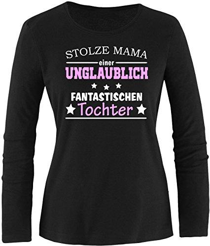 EZYshirt® Stolze Mama einer unglaublich fantastischen Tochter Damen Longsleeve Schwarz/ Weiß/ Rosa