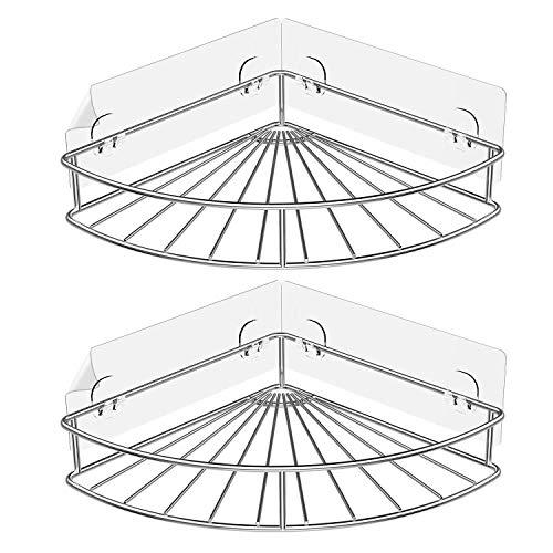 Xigeapg Klebstoff Eck Badezimmer Regal Lagerung Wand Montage Dusche Caddy Rack Küche Badezimmer Liefert Edelstahl Ohne Bohrer - 2 Packungen (Dusche Eck-regal Aus Marmor)