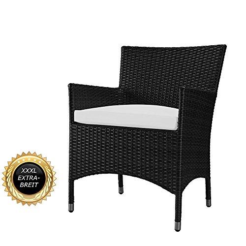 Rattan, Ohne Armlehnen Stuhl (XXL Rattan Stuhl - bis 200 kg belastbar - LUXUS pur, Superbequeme Edition-Serie, Extra verstärkter Alurahmen (aus einem Stück, kein Bausatzsystem), Farbe Schwarz)