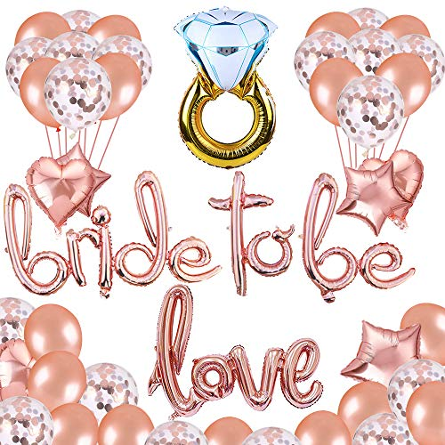 Puselo Bride to Be Deko,Bachelorette Classy Team Braut Partei Liefert mit Bride to BE Roségold Folienballons, Rose Gold Konfetti Latex Ballons,Junggesellinnenabschied Bachelorette Party Dekoration