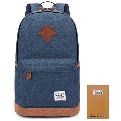 KAUKKO Stylisch Schule Rucksack Duffel Laptop Reisetasche Freizeittasche Wanderrucksack Fit up to 15 zoll Blau (Laptop Leder Personalisierte)