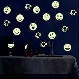Bfeplfashion Removable Smiley Face Emoji Wall Sticker Luminous Decals Kids Room Art Decor