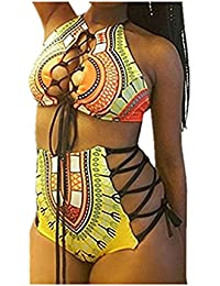 Zarupeng ��Traje de baño de cintura alta traje de baño de las mujeres más tamaño imprimir bikini de playa (S, Amarillo)