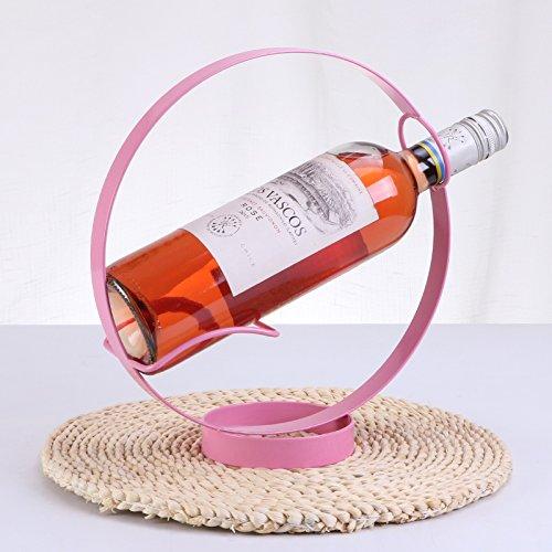 HETAO personalità Cremagliera Creativa della cremagliera del Vino Rosso della cremagliera della cremagliera di Vino in Acciaio Inossidabile, Round Wine Rack - Plum Red Scaffale Decorativo