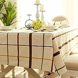 K&C tela escocesa cubierta rectangular de color blanco mantel de lino de algodón lavable cena rectangular rectangular mantel de picnic