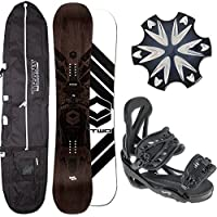 HERREN SNOWBOARD FTWO BLACKDECK WOOD 154 CM + TEAM BDG. GR L + BAG + PAD