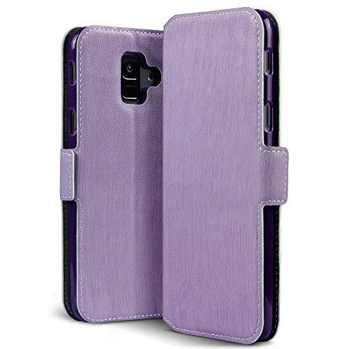 Terrapin, Kompatibel mit Samsung A6 2018 Hülle, Leder Tasche Case Hülle im Bookstyle mit Standfunktion Kartenfächer - Lila