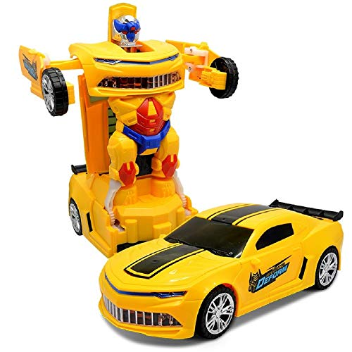 HOME CUBE® 3D Flashing Led Light Robot Races Car Toy 2 in 1 Transform Car Toy with 3D Bright Lights and Music.