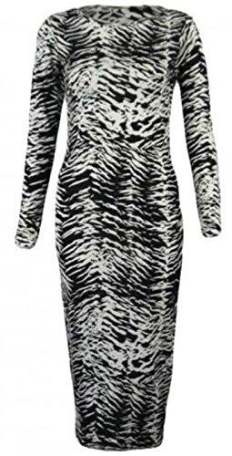 Fashion 4moins New femmes à manches longues robe Midi Bodycon Imprimé. UK 8–14 zébré