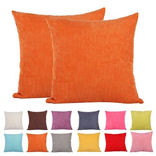 comoco -2pcs Farbe Klein Mais gestreift Cord Deko Kissen Bezug für Sofa erhältlich in 15Farben und 7Größen, Orange, 65x65cm