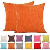 2 fundas de cojín decorativas a rayas de Comoco®, tejido de pana, color sólido, Naranja, 65x65cm