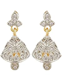 SKN Silver And Golden American Diamond Alloy Dangle & Drop Jhumki Earring For Women & Girls (SKN-3248)