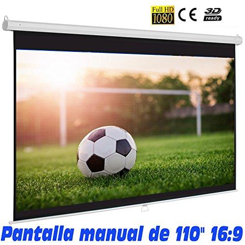 """Pantalla Manual Mural de 110"""", Dimensiones de la Tela 2,43 x 1,38 Metros, cajetin de Acero 2,58 Metros, Pantalla para proyector Compatible con 4K, 16:9 (110 Pulgadas 16:9)"""