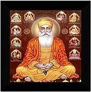 SAF Guru nanak ji with all sikh guru UV Textured High Quality Home Decorative Gift Item Framed Painting 12 Inc